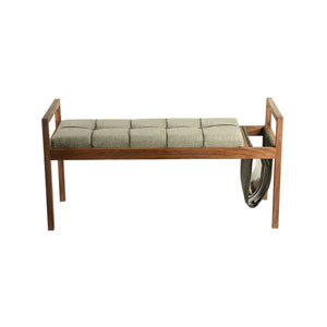 Scandi Cotton and Wood Bench