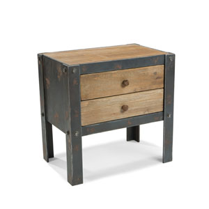 Bolt Natural Side Table with Two Drawers