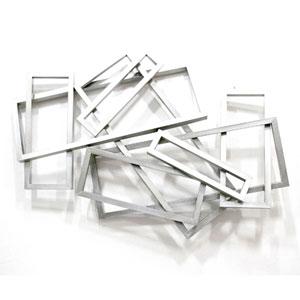 Metal Silver Rectangular Wall Decor