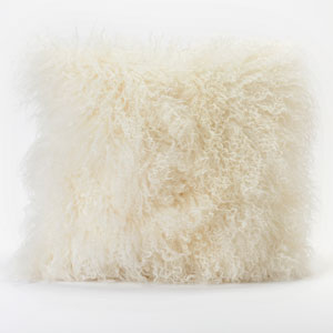 Lamb Fur Cream Square Decorative Pillow