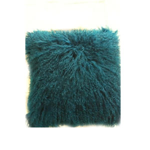 Lamb Fur Blue Square Decorative Pillow