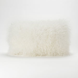 Lamb Fur Cream Rectangular Decorative Pillow
