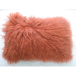 Orange Lamb Fur Pillow Rectangular