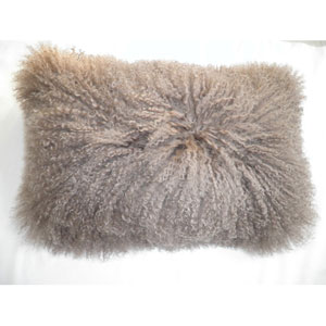 Lamb Fur Natural Rectangular Decorative Pillow