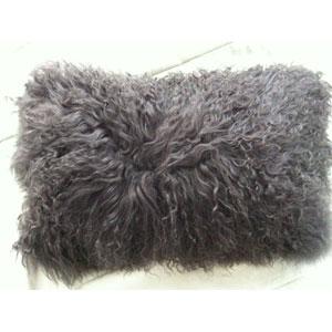 Lamb Fur Grey Rectangular Decorative Pillow