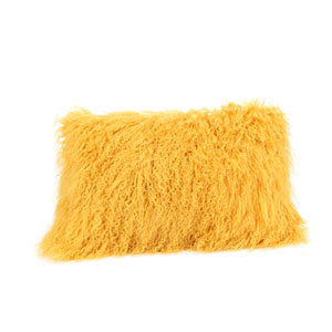 Gold Lamb Fur Pillow Rectangular