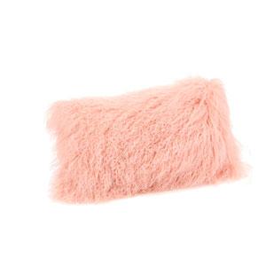 Pink Lamb Fur Pillow Rectangular