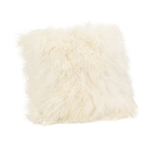Cream Lamb Fur Large Pillow