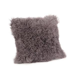 Grey Lamb Fur Large Pillow