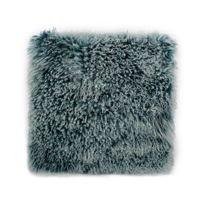 Lamb Fur Pillow Large Teal Snow