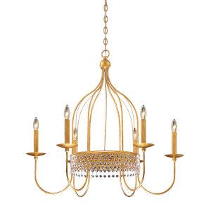 Kingsmont Glitz Gold Leaf Six-Light Chandelier