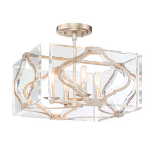 Brenton Cove Gold Mist Gold Leaf Four-Light Semi Flush Mount