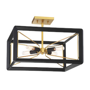 Sable Point Sand Black With Honey Gold Four-Light Semi Flush Mount