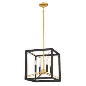 Sable Point Sand Black With Honey Gold Four-Light Pendant