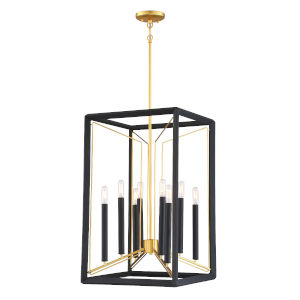 Sable Point Sand Black With Honey Gold Eight-Light Pendant