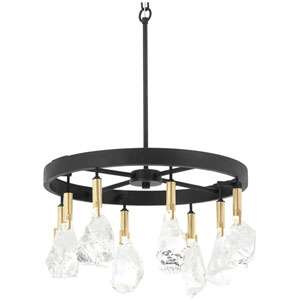Rare Elements Sand Coal and Vintage Brass Eight-Light LED Chandelier
