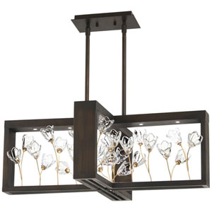 Maison Des Fleurs Regal Bronze with Empire Gold 30-Inch LED Island Chandelier