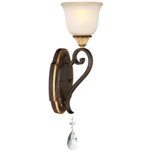 Chateau Nobles Raven Bronze with Sunburst Gold Highlight One-Light 6-Inch Bath Light