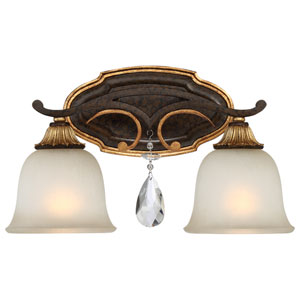 Chateau Nobles Raven Bronze with Sunburst Gold Highlight Two-Light 16-Inch Bath Light