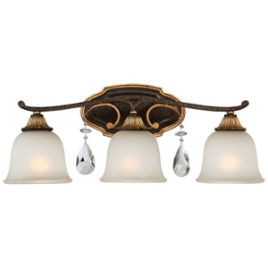 Chateau Nobles Raven Bronze with Sunburst Gold Highlight Three-Light 24-Inch Bath Light