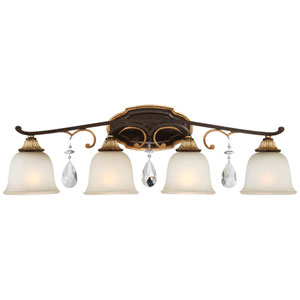 Chateau Nobles Raven Bronze with Sunburst Gold Highlight Four-Light 33-Inch Bath Light