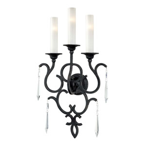 Metropolitan Castellina Aged Iron Three-Light Wall Sconce