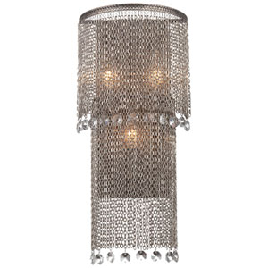 Shimmering Falls Antique Silver Three-Light Wall Sconce