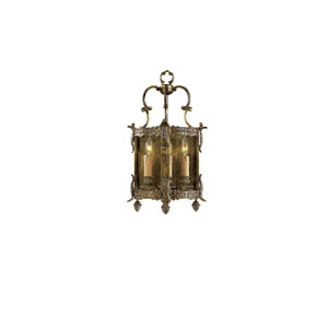 Vintage Antique Bronze Patina Three-Light Wall Sconce with Clear Glass Shade