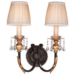 Bella Cristallo French Bronze with Gold Leaf Highlights Two-Light Wall Sconce