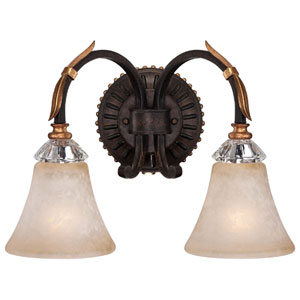 Bella Cristallo French Bronze with Gold Leaf Highlights Two-Light Bath Fixture
