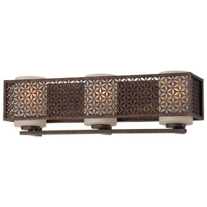 Ajourer French Bronze Three-Light Bath Fixture