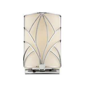 Walt Disney Signature Chrome with Macassar Ebony and Crystal Accents One-Light Bath Fixture with Etched White Shade