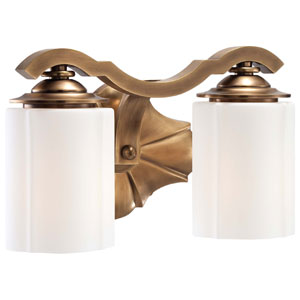 Leicester Aged Brass Two-Light Bath Fixture with Etched White Glass