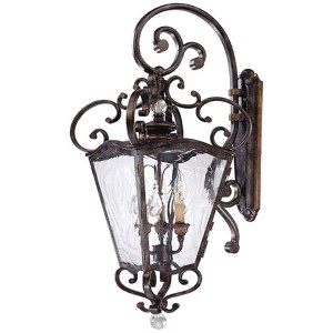 Aged Patina and Gold Leaf Accent Three-Light Outdoor Wall Mount Lantern
