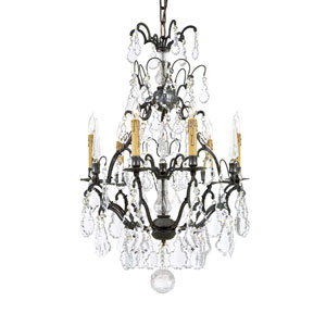Vintage Six-Light Clear Glass Crystal Chandelier