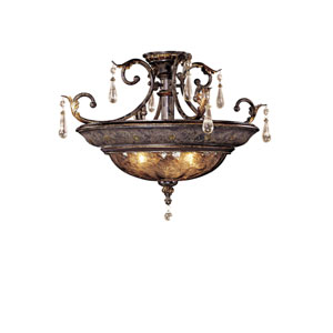 Sanguesa Patina Three-Light Semi Flush with Art Glass Shade