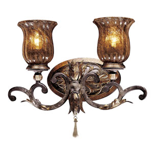 Sanguesa Patina Two-Light Bath Fixture with Art Glass Shade