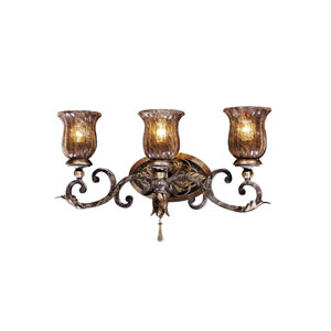 Sanguesa Patina Three-Light Bath Fixture with Art Glass Shade