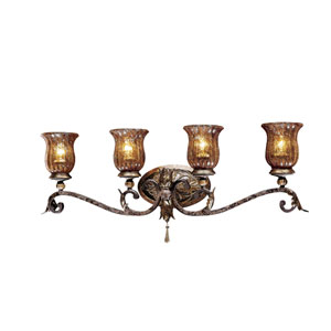 Sanguesa Patina Four-Light Bath Fixture with Art Glass Shade