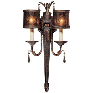 Sanguesa Patina Two-Light Wall Sconce with Art Glass Shade