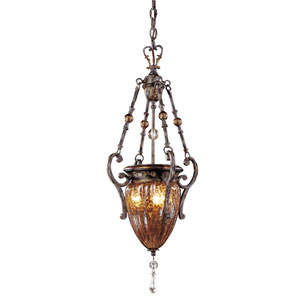 Sanguesa Patina Three-Light Foyer Pendant with Art Glass Shade
