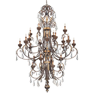 Windsor Rust Twenty-Four Light Chandelier with Bronze Accents