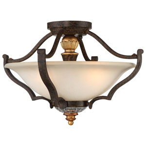 Chateau Nobles Raven Bronze with Sunburst Gold Highlight Three-Light 17-Inch Semi-Flush Mount