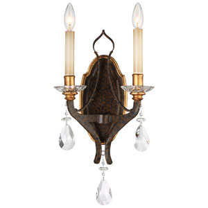 Chateau Nobles Raven Bronze with Sunburst Gold Highlight Two-Light 11-Inch Wall Sconce