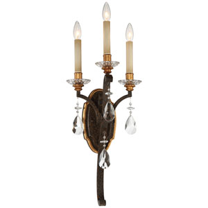 Chateau Nobles Raven Bronze with Sunburst Gold Highlight Three-Light 12-Inch Wall Sconce