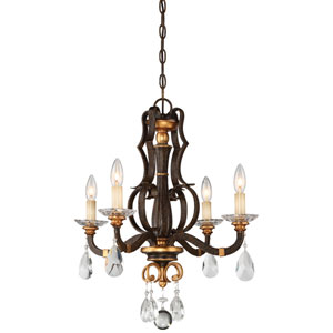 Chateau Nobles Raven Bronze with Sunburst Gold Highlight Four-Light 21-Inch Chandelier
