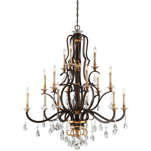 Chateau Nobles Raven Bronze with Sunburst Gold Highlight Fifteen-Light 46-Inch Chandelier