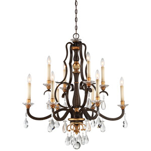 Chateau Nobles Raven Bronze with Sunburst Gold Highlight Ten-Light 34-Inch Chandelier