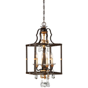 Chateau Nobles Raven Bronze with Sunburst Gold Highlight Four-Light 14-Inch Pendant