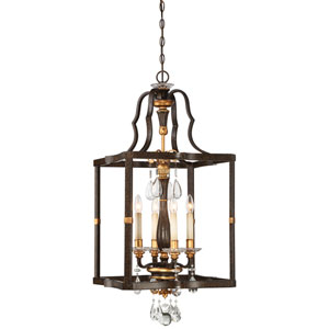 Chateau Nobles Raven Bronze with Sunburst Gold Highlight Four-Light 18-Inch Pendant